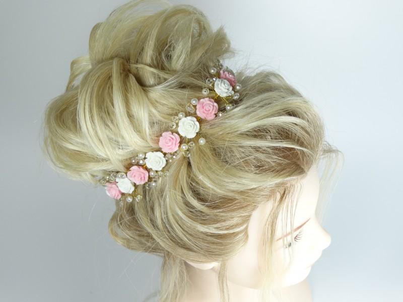 Accesoriu mireasa - ocazie flori albe si roz