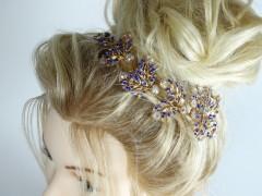 Accesoriu mireasa - ocazie flori aurii si cristale albastre