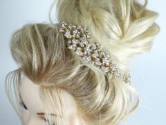 Accesoriu mireasa - ocazie flori aurii si cristale