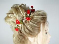 Accesoriu mireasa - ocazie flori rosii si albe