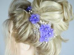 Accesoriu mireasa - ocazie floricele mov si cristale