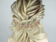 Accesoriu mireasa - ocazie frunzulite aurii si cristale roz