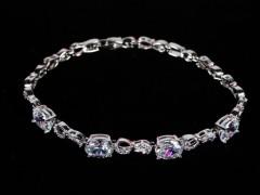 Bratara argintie cristale ovale