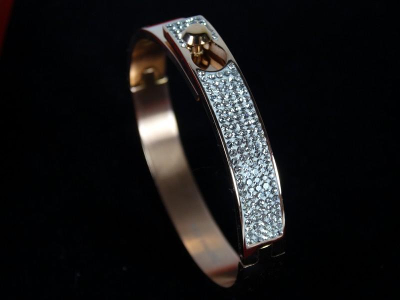 Bratara fixa rose gold cristale