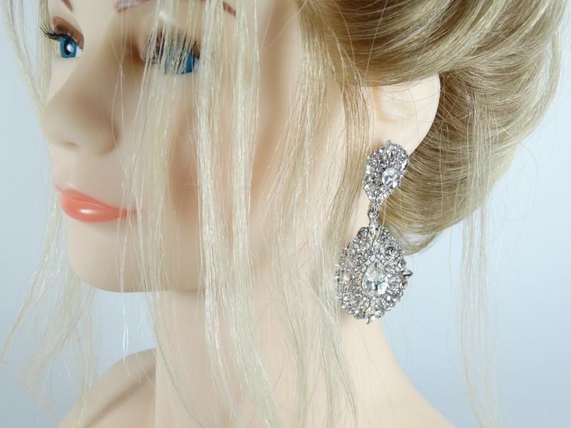 Cercei argintii cristale model vintage