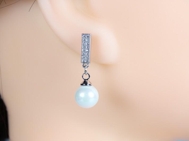 Cercei argintii cristale si perle