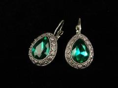 Cercei argintii cristale verzi
