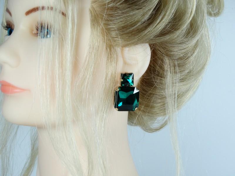 Cercei aurii cristale verzi