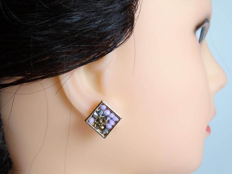 Cercei aurii cristale violet si maro