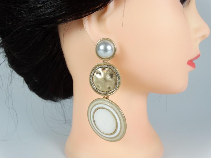 Cercei aurii metalici perle si cristale