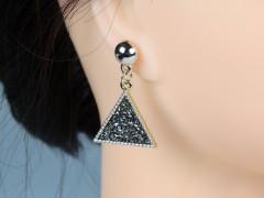 Cercei aurii triunghiuri cristale