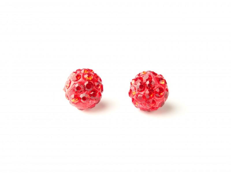 Cercei bobite cristale rosii
