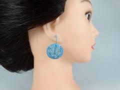 Cercei broderie model floral albastru