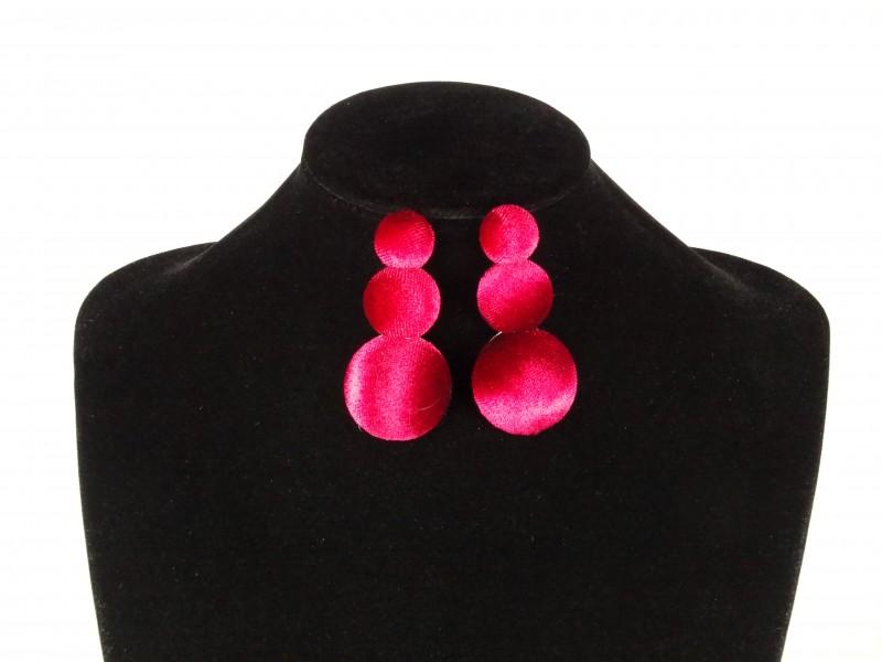 Cercei buline rosii de catifea