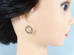 Cercei cerculete cu model floral si cristale