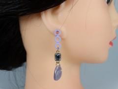Cercei cerculete si cristale violet