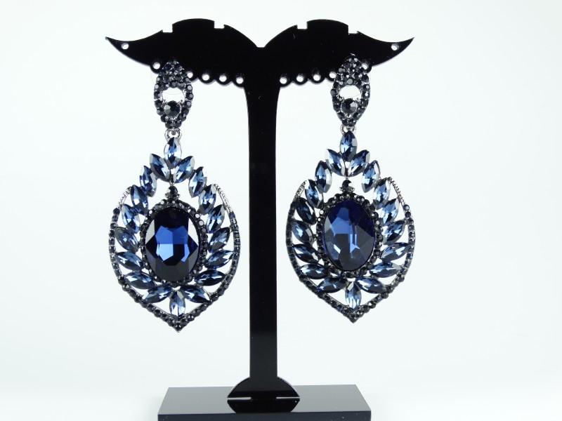 Cercei cristale albastru inchis