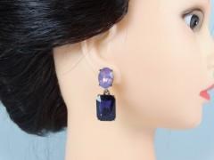 Cercei cristale doua nuante violet