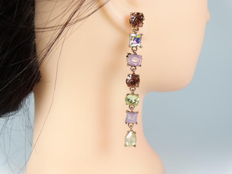 Cercei cristale in culori pamantii