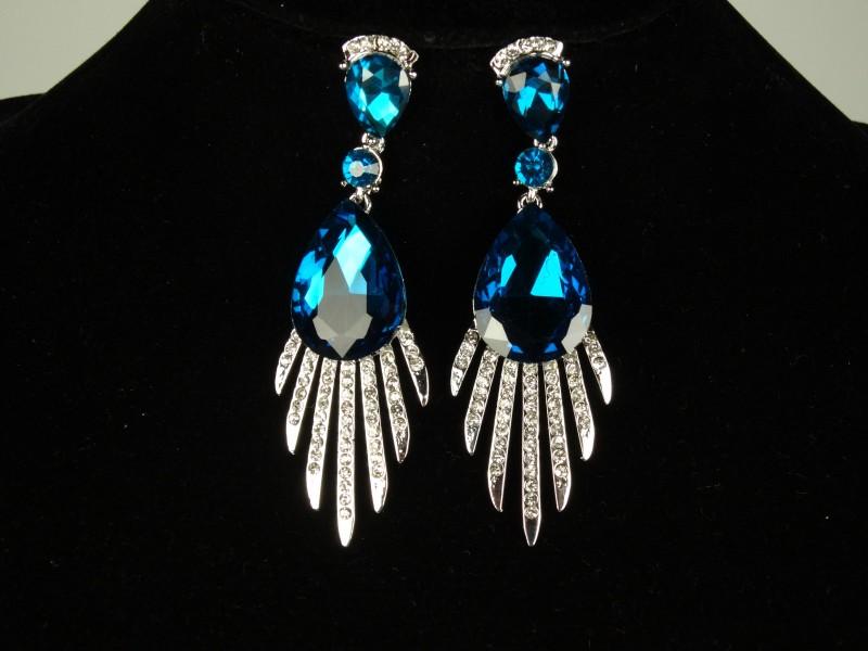 Cercei cristale mari turcoaz