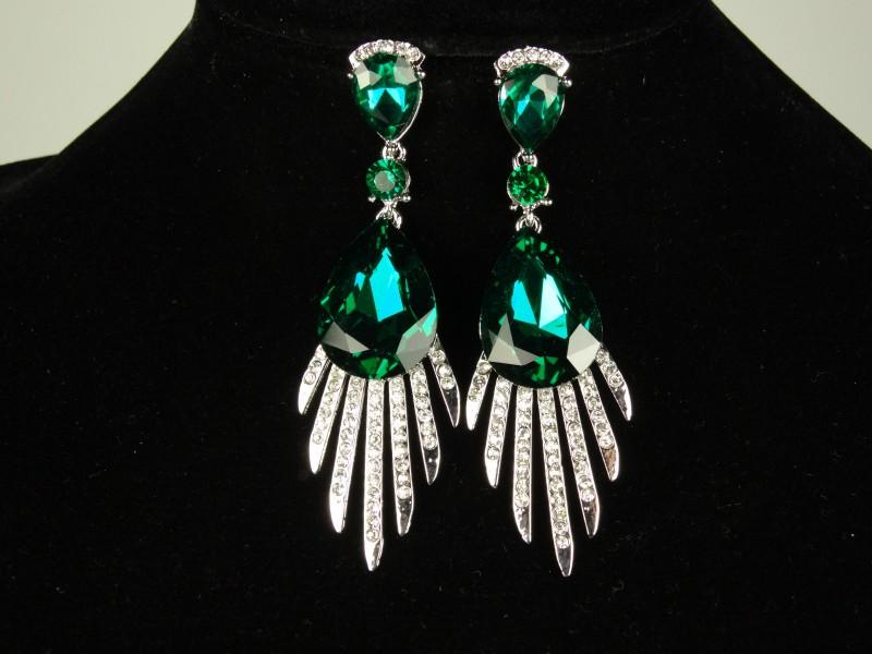 Cercei cristale mari verzi