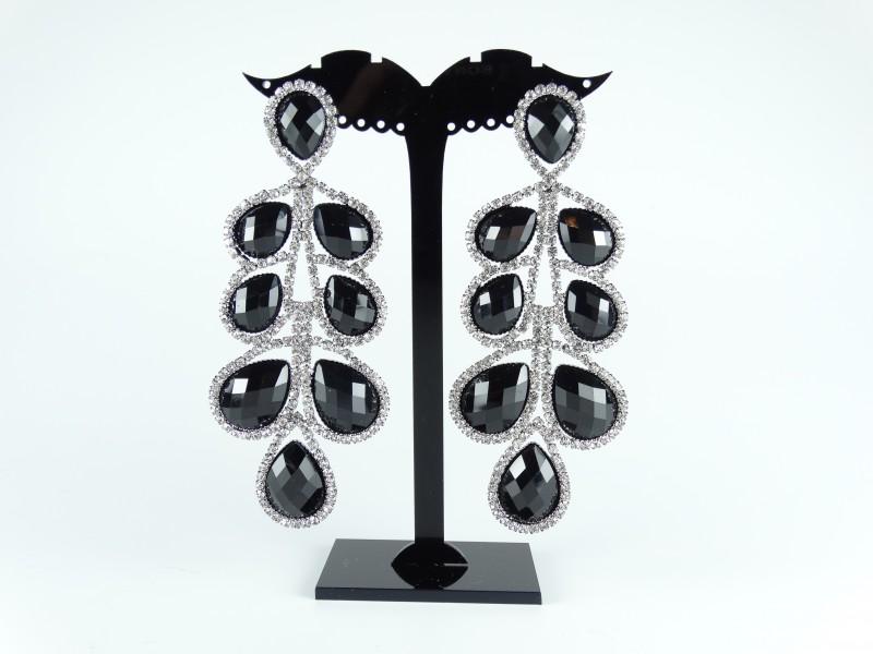 Cercei cristale negre tip candelabru