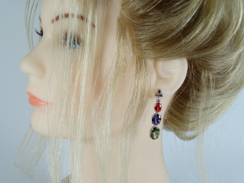 Cercei cristale ovale multicolore