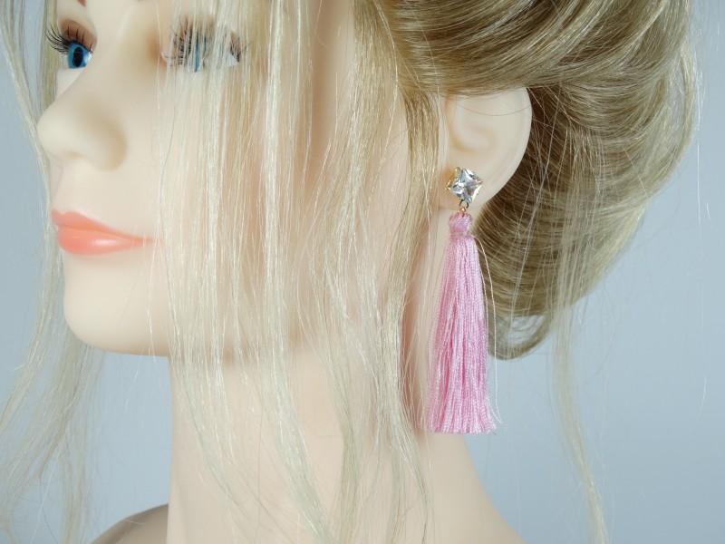 Cercei cristale si ciucuri roz