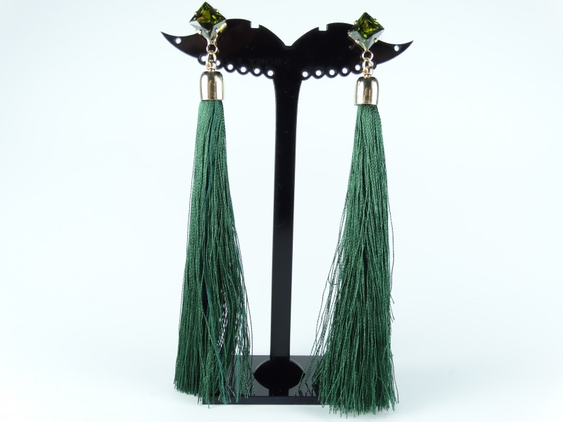 Cercei cristale si ciucuri verde inchis