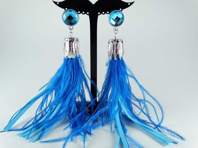 Cercei cristale si pene albastre