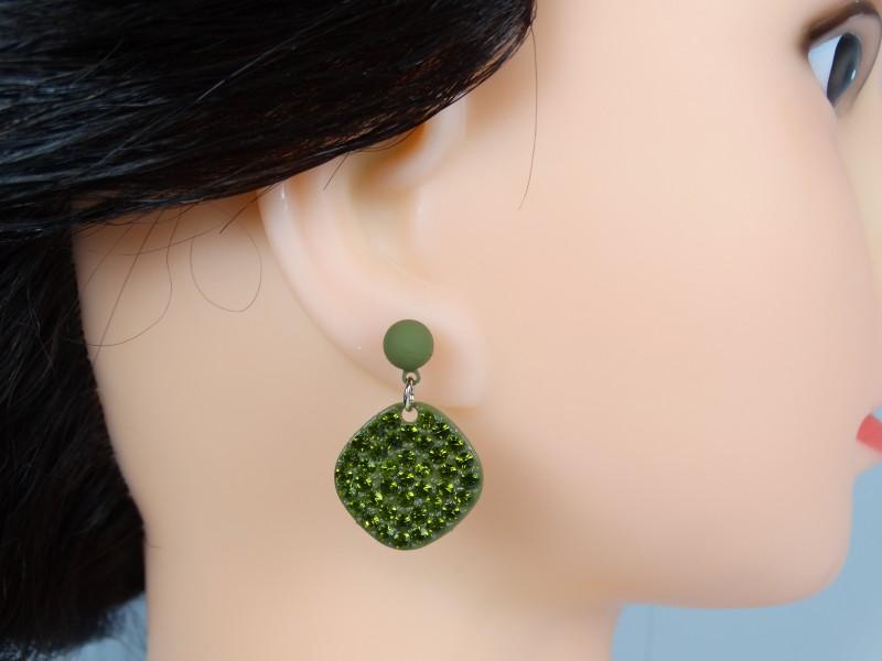 Cercei cristale verzi inchis