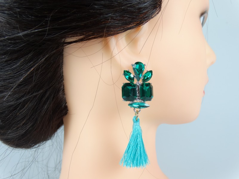 Cercei cristale verzi si ciucuri