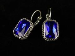 Cercei dreptunghiulari cristale albastre