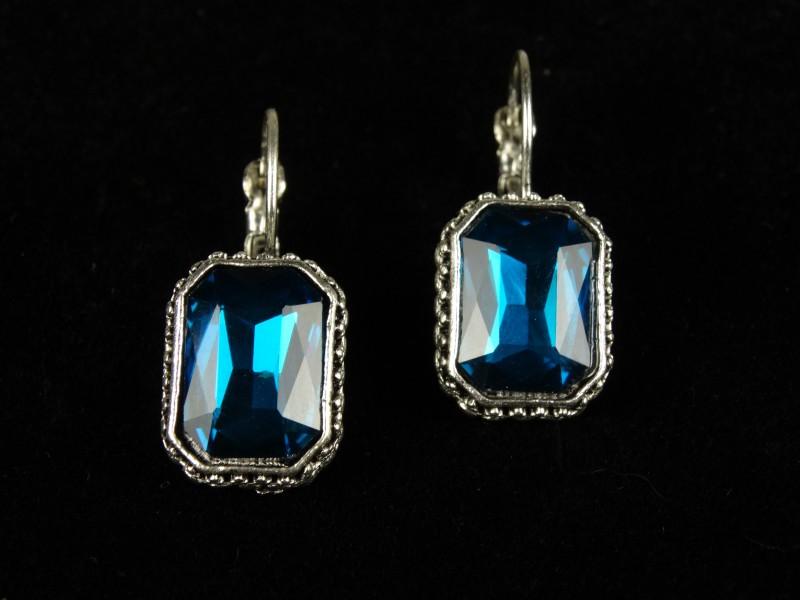 Cercei dreptunghiulari cristale turcoaz