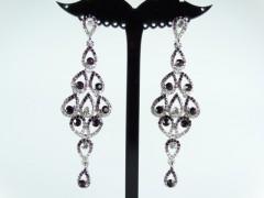 Cercei eleganti argintii cristale mov