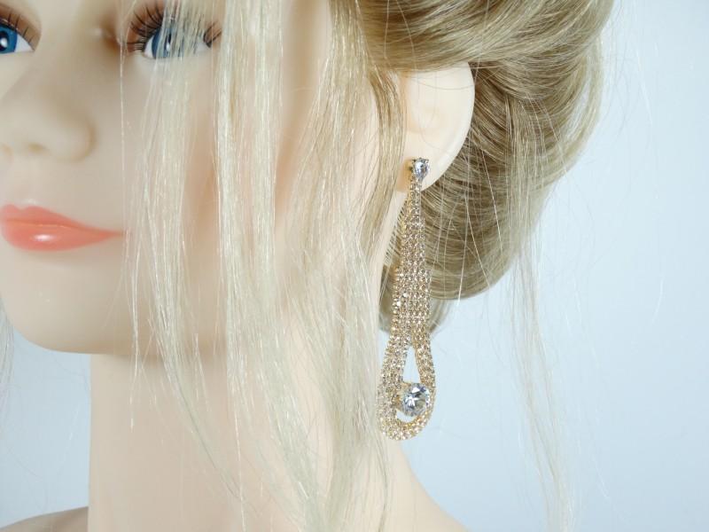 Cercei eleganti aurii lungi cristale