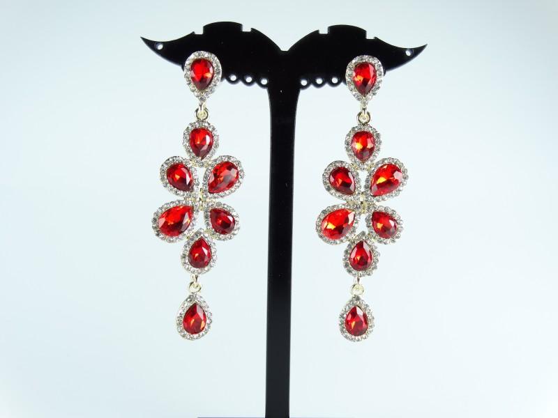 Cercei eleganti aurii si cristale rosii