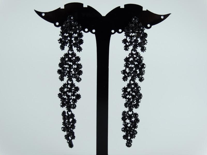 Cercei eleganti negri cristale