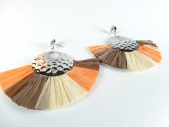Cercei evantai argintiu - portocaliu