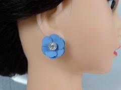 Cercei flori albastre si cristale