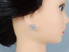 Cercei flori argintii si cristale
