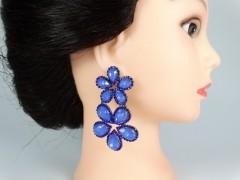 Cercei  flori cristale albastre