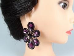 Cercei flori cristale violet