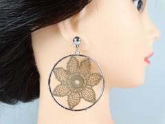 Cercei flori crosetate argintiu - maro