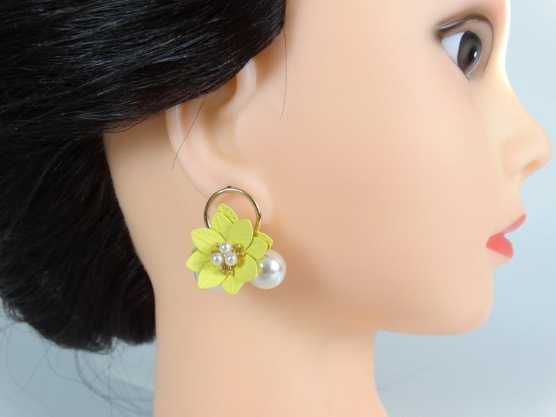 Cercei flori galbene si perle