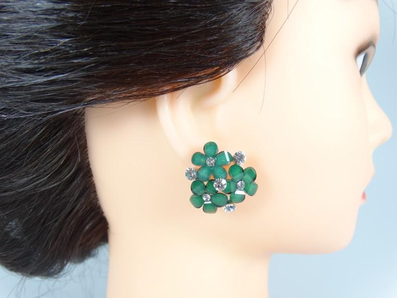 Cercei flori petale cristale verzi