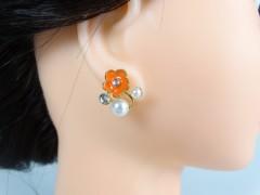 Cercei flori portocali perlute si cristale