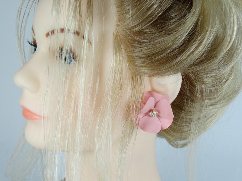 Cercei flori roz