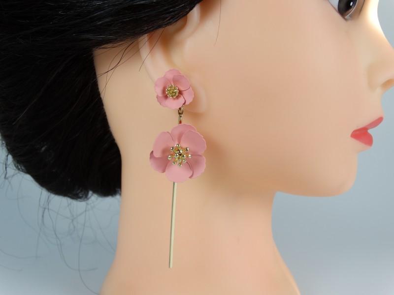 Cercei flori roz prafuit