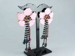 Cercei flori roz si cristale multicolore